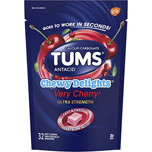 TUMS Chewy Delights Very Cherry Ultra Strength Antacid Soft Chews for Heartburn Relief, 32 count