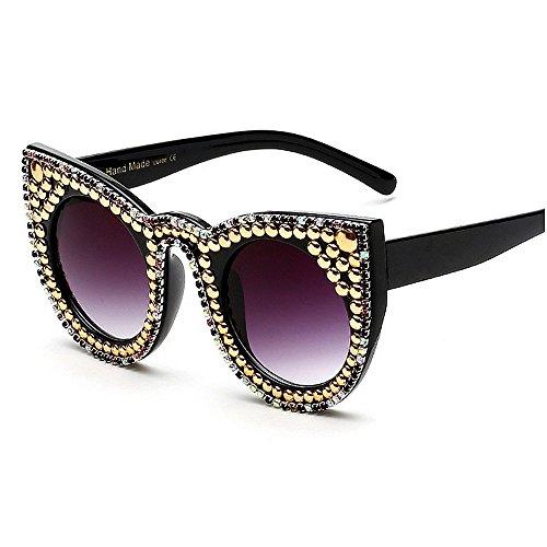 para gafas Gu gafas personalidad sol Gold Color mujeres marco protección Peggy cristal de lujo UV señora Lindos de gato conducción de ojos de de de sol negro de de gafas Gold sol HvATq0WdwT