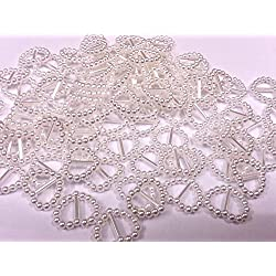 CraftbuddyUS White Acrylic 100 Heart Ribbon Slider Buckles for Wedding Invitations, Card Craft