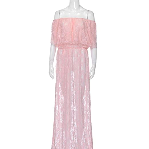 Challyhope Lace Overlay Maternity Wrap Off Shoulder Maxi Dress Photography  Props Fancy Gown for Baby Shower 0809149468c3