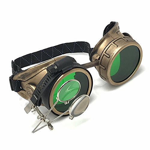 Victorian Goggles Glasses Antique gold green lens with Double Clip on eye Loupe -