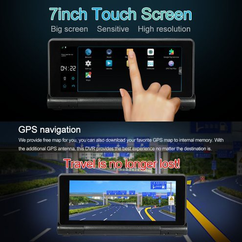 Carelove 7''HD Touchscreen Android Car Navigation With Dashboard Camera, Car DVR Vehicle Dash Cam Car Entertainment Multimedia w/ FM/RDS Radio,WIFI,BT,Free map Updated by carelove (Image #2)