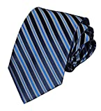 Men's Stripe Navy Royal Blue Silk Ties Unique Long Neckties Gift for Husband Dad