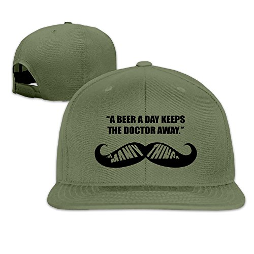 BASEE A Beer A Day Keep The Doctor Away Adjustable Flat Along Baseball Cap ForestGreen (A Beer A Day Keeps The Doctor Away)