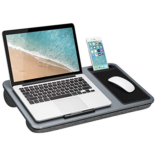 LapGear Home Office Lap Desk with Mouse pad and Phone Holder - Silver Carbon - Fits up to 15.6 Inch laptops - Style No. 91585