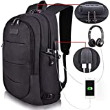 Tzowla Business Laptop Backpack Water Resistant Anti-Theft College Backpack with USB Charging Port and Lock 15.6 Inch Computer Backpacks for Women Men, Casual Hiking Travel Daypack (A-Black)