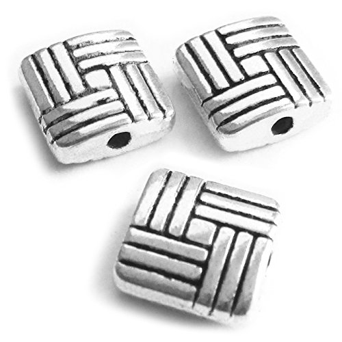 Double Happiness Diamond Ring (Heather's cf 83 Pieces Silver Tone Stripe Square Flat Beads Findings Jewelry Making 8mm)