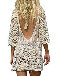 ea530392dfe0 Women s Bathing Suit Cover Up Crochet Lace Bikini Swimsuit Dress