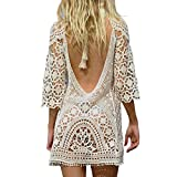 Jeasona Women's Bathing Suit Cover up Crochet Lace Bikini Swimsuit Dress (White, M)