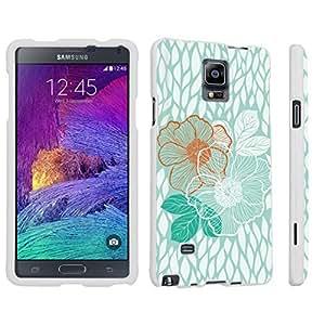 DuroCase ? Samsung Galaxy Note 4 Hard Case White - (Mint Flower)