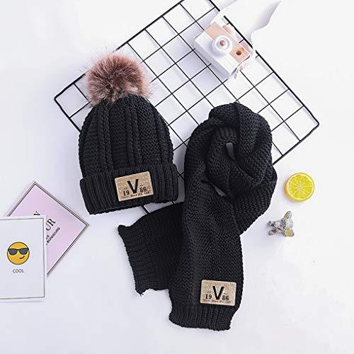 Écharpe Bébés Set Acmede Mignonne Filles D'hiver Costume Garçons Noir Chaud Tricoté Enfants Chapeaux IBCw4
