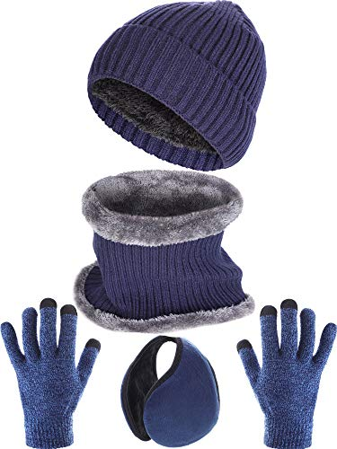 Tatuo 4 Pieces Ski Warm Set Includes Winter Hat Scarf Warmer Gloves Winter Outdoor Earmuffs for Adults Kids (Set 8)