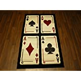 Retro Novelty Woven Backing Mat 80cm x 150cm Approx 5x3 Glitter Playing Cards by OrientalRugCompany