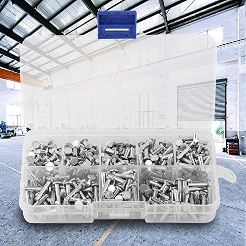 surtido de remaches de aluminio s/ólido remache s/ólido de cabeza plana de 4 mm a 16 mm de longitud Remaches de aluminio de cabeza plana M3 de 400 piezas con caja
