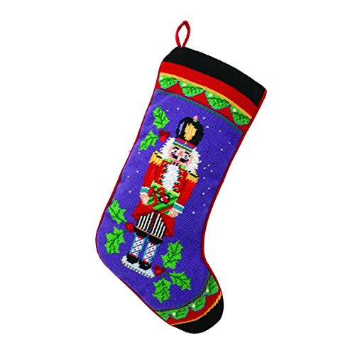 (Nutcracker with Gift on Purple Christmas Stocking, Wool & Velvet Needlepoint, 11 Inch X 18 Inch)
