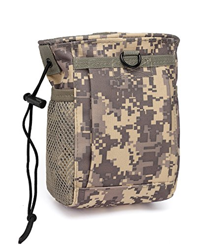 Camo Hip Holster - ZOOPOLR Tactical Molle drawstring Magazine Dump Pouch , Military Adjustable Belt Utility fanny hip holster Bag Outdoor Ammo Pouch (ACU Camouflage)