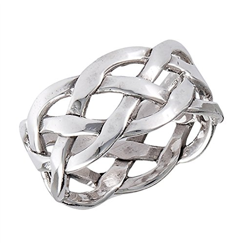 Silver Knot Mesh Sterling - Wide Weave Mesh Knot Celtic Wedding Ring New 925 Sterling Silver Band Size 9