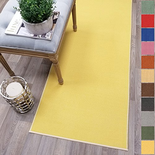 Custom Size Yellow Solid Plain Rubber Backed Non-Slip Hallway Stair Runner Rug Carpet 22 inch Wide Choose Your Length 22in X 4ft (Carpet Yellow Runner)