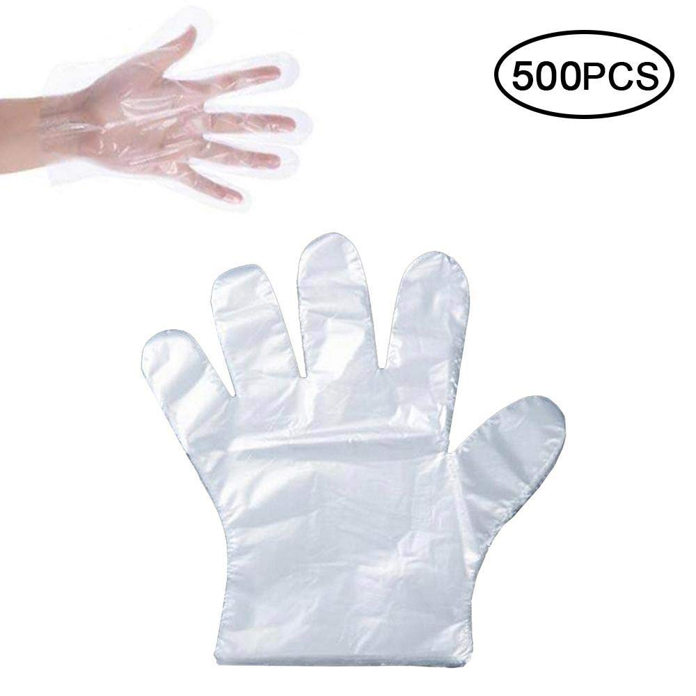 Baiwka 使い捨てポリ手袋 500枚 Lサイズ 透明 使い捨て プラスチック ポリエチレン手袋 安全 非毒性 防水 料理 掃除 食品の取り扱いに B07R8Y1QHS