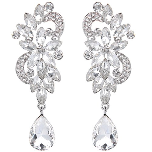 BriLove Women's Bohemian Crystal Flower Wedding Bridal Chandelier Teardrop Bling Dangle Earrings Clear
