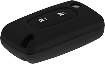MeiBoAll HU83 Slotted Car Vehicle Key Case with Two Buttons for Peugeot 207 307 308 SW,Black