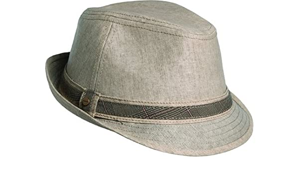 cb7af88ea Stetson Men's Linen Fedora With Plaif Hat, Brown, L at Amazon Men's ...