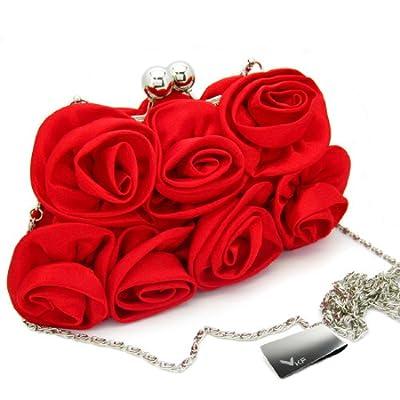 Missy K 7 Roses Clutch Purse, Satin, with Detachable Strap + kilofly Money Clip