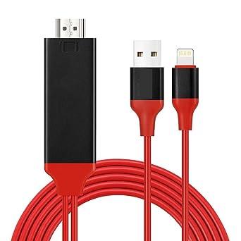 Cable Adaptador HDMI para iPhone, Compatible con iPhone 11 11Pro XS XS Max XR X 8 7 6 6s Plus iPad iPod a TV Monitor de Proyector, Cable HDMI 1080P para Teléfono: