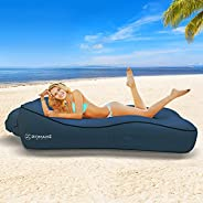 ZOMAKE Inflatable Lounger Couch with Pillow, Anti-Air Leaking & Waterproof Air Sofa for Beach, Backyard, C