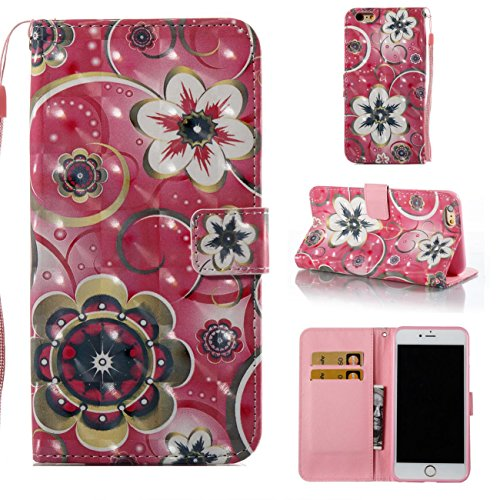 iPhone 6S Plus /6 Plus Case,Magnetic Wallet Case Lightweight [Kickstand] Flip Skin Cover Built In Credit Card Slot Protective Carrying Case with Strap for Apple iPhone 6S Plus /iPhone 6 Plus-Flowers - Womens Apple Wallet