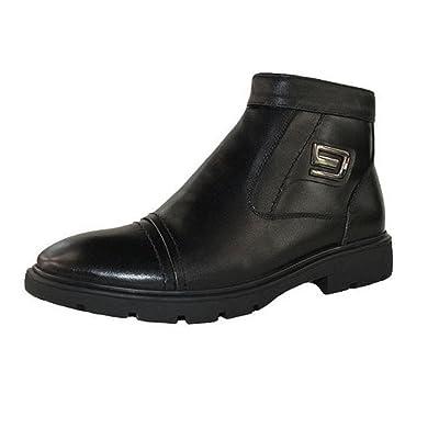 WZG Chaussures à talons hauts pour hommes Martin bottes bottes bottes moto chaussures en coton d'automne et d'hiver