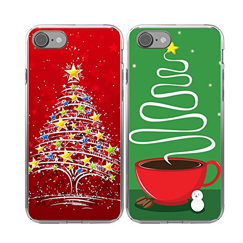 iPhone7 Christmas Couple Cases,TTOTT 2X Christmas Gift Floral New Fashion Red Christmas Tree Slim Bumper Anti Scratch Shockproof Matching Couple Christmas Cases for iPhone 7 4.7inch for $<!--$10.98-->