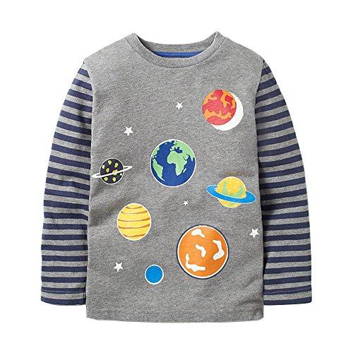 Cartoon Baby T-shirt - HUAER&& Baby Boys Cartoon Dog Cotton Long Sleeve T Shirt Rocket Print Tops1.5T-7T (1.5-2T(height80-90cm/30-34inch), Grey)