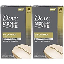 Dove Men+Care Body and Face Bar, Oil Control, 4 Ounce, 6 Bars (Pack of 2) 12 Bars Total