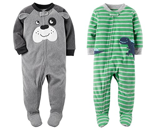Green Footed Sleeper Pajamas (Carter's Baby Toddler Boy's 2 Pack Fleece Footed Pajama Sleep and Play Set (Zipper Closure - Grey Dog Face and Green Stripe Dino, 3T))