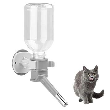 FONLAM Botella de Agua Bebedero Colgante Jaula para Gato Perro Cachorro Conejo 330ml Dispensador de Agua con Bola de Acero Animal Pequeño Mascota (Gris): ...
