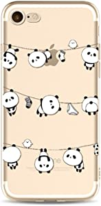 """iPhone 7 Case Silicone, iPhone 8 Case Clear, Ultra Thin Protective Transparent Clear TPU Case for 4.7"""" iPhone 7/iPhone 8 in Slim Soft Gel Back Cover Shockproof Bumper Cartoon Cute Panda Animal Design"""