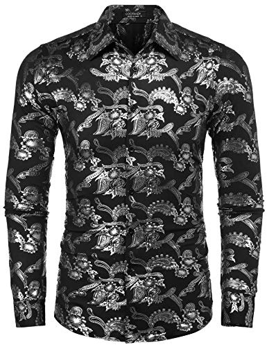 (COOFANDY Mens Paisley Shirt Luxury Design Long Sleeve Slim Fit Button Down Shirts,Silver,Medium)
