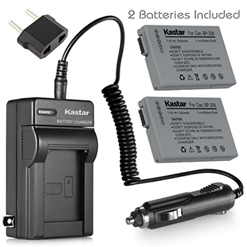Kastar 2 Battery and Charger for Canon BP-208 Battery and Canon DC100 DC210 DC230 ()