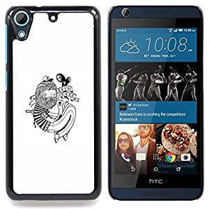 "Qstar Arte & diseño plástico duro Fundas Cover Cubre Hard Case Cover para HTC Desire 626 (Hipster Tatuaje"")"