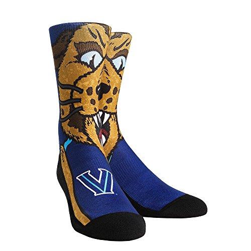 NCAA Villanova Wildcats Will D. Cat Mascot University Custom Athletic Crew Socks, Large/X-Large, Navy