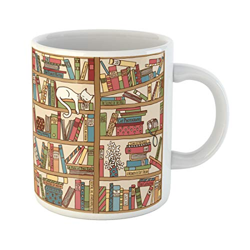 Semtomn Funny Coffee Mug Colorful Cosy Bookshelf Sleeping Cat Library Animal Author Book 11 Oz Ceramic Coffee Mugs Tea Cup Best Gift Or Souvenir -
