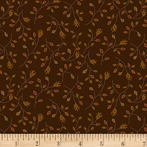 (Henry Glass Buttermilk Autumn Bud Vine Brown, Fabric by the Yard)