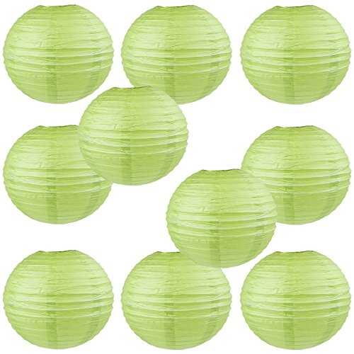 WYZworks-Round-Paper-Lanterns-10-Pack-Green-Grape-12-with-8-10-12-16-option