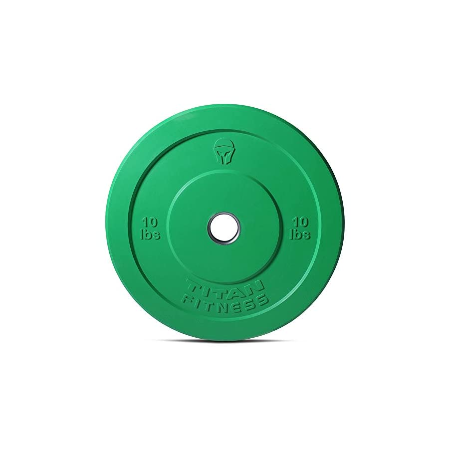 Titan Fitness Pair 10 lb Olympic Bumper Plate Green Benchpress Strength Training
