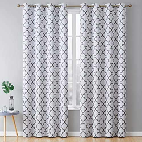"HLC.ME Lattice Print Thermal Insulated Room Darkening Blackout Grommet Window Curtains for Bedroom - Platinum White & Grey - 52"" W x 84"" L - Pair"