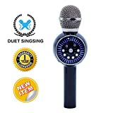 Wireless Bluetooth Karaoke Microphone with Ambient LED light SANOVO 3-in-1 Portable Hand Speaker for iPhone/Android/iPad/Sony,PC and All Smartphone (Black)