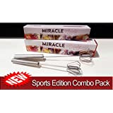"""The Original Miracle Whisk 14""""+10"""" 2 in 1 Sports Edition Combo Package Self Mixer Stainless Steel No Batteries Hand Push Mix Whip Froth - Real Cooks Use Real Tools"""