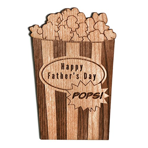 Happy Father's Day Pops Popcorn Shape Laser Cut Wood Father's Day Card (For Dad / Greeting Card) (Shape Popcorn)