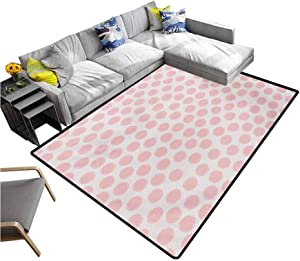 "Kids Non Slip Carpet Hand Drawn Style Dots in Pastel Color and Retro Style Sweet Childhood Pattern Non-Slip Doormat Carpet Blush and Coconut (4'7""x6'6"")"